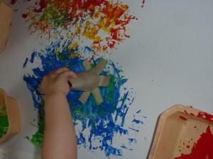 Peinture au rouleau de sopalin à la Fée des sourires